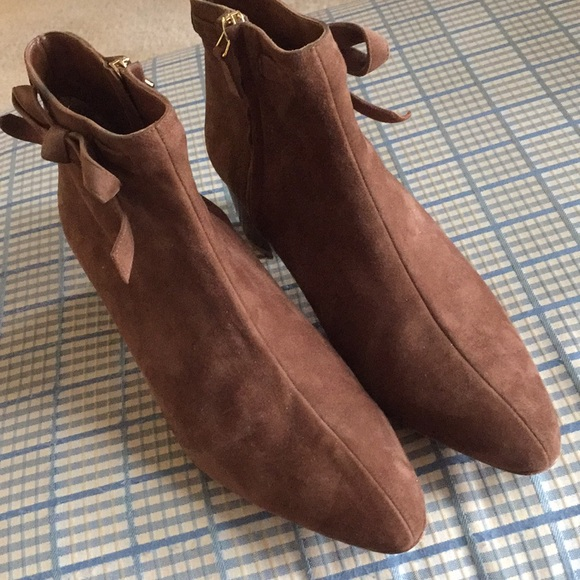 Manolo Blahnik Shoes - Manolo Blahnik brown suede booties with bows
